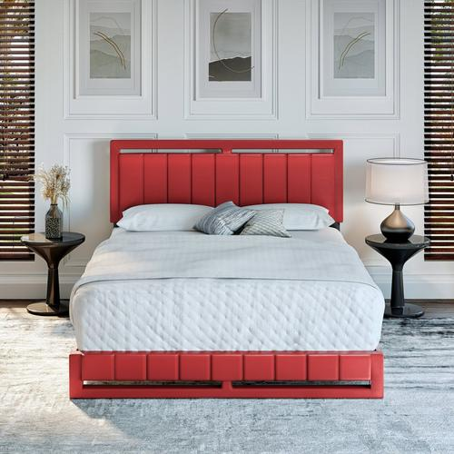 Bethel Queen Platform Bed - Red