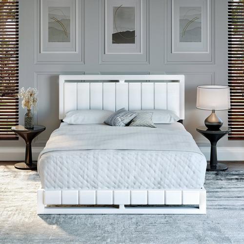 Bethel Queen Platform Bed - White