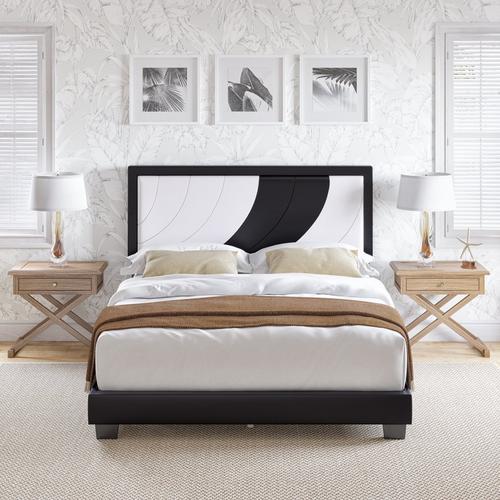 Brianna Queen Platform Bed - White & Black