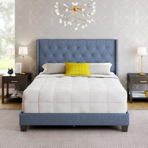 Madeira Queen Platform Bed - Blue