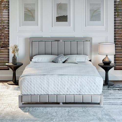 Bethel Queen Platform Bed - Grey