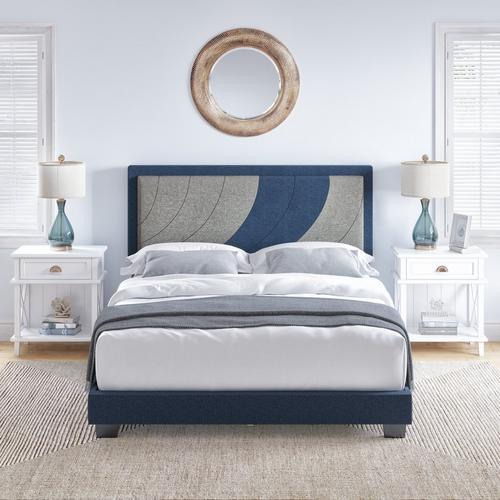 Enya King Platform Bed - Blue & Gray