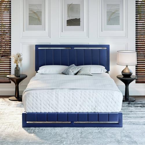 Bethel Queen Platform Bed - Blue