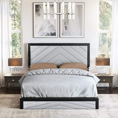 Angelica Queen Platform Bed - Black & Gray
