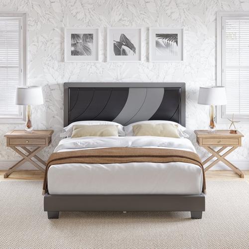 Brianna Queen Platform Bed - Black & Gray