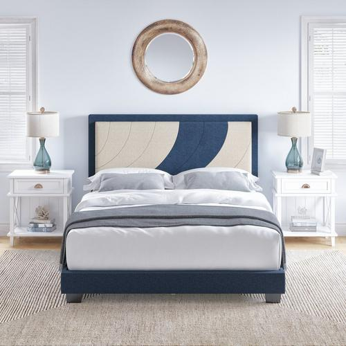 Enya Queen Platform Bed - Blue & White