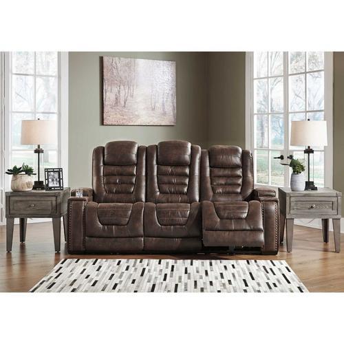 Game Zone Power Reclining Sofa w/ Adjustable Headrest