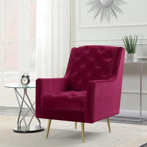 Bryan Accent Chair/Gold Legs - Cranberry