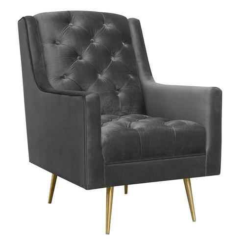 Bryan Accent Chair/Gold Legs - Slate