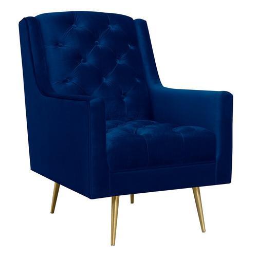 Bryan Accent Chair/Gold Legs - Navy Bl