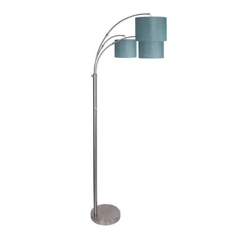 Metal Floor Lamp - Brushed Nickel & Blue