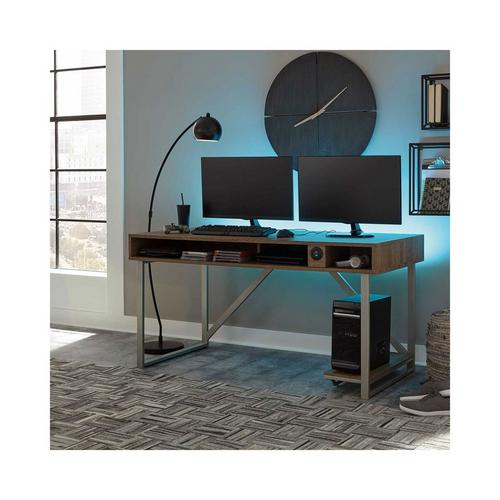 Barolli Gaming Desk - Brushed Nickel