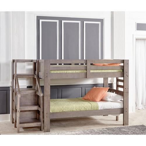 7-Piece Twin Bunk Bed with Staircase & Mattress Set