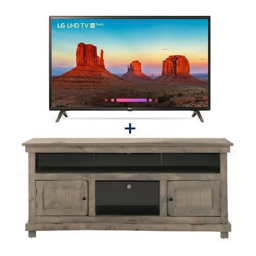 "55"" Class Smart 4K UHD TV & 60"" Grey Rustic TV Stand Bundle"