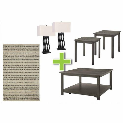 6-Piece Heath Tables, Orb Lamps and Shodo Sand Rug Bundle