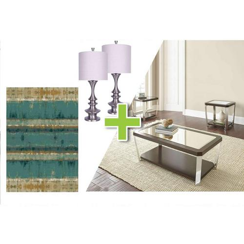 6-Piece Truman Tables, Brushed Nickel Lamps and Callen Rug Bundle