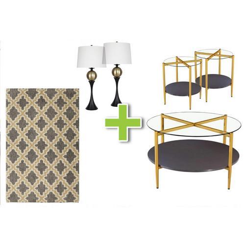6-Piece Rachel, Bronze Lamps and Tracery Rug Bundle