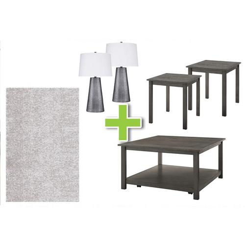 6-Piece Heath Tables, Poly Gray Lamps and Shimmer Shag Rug Bundle