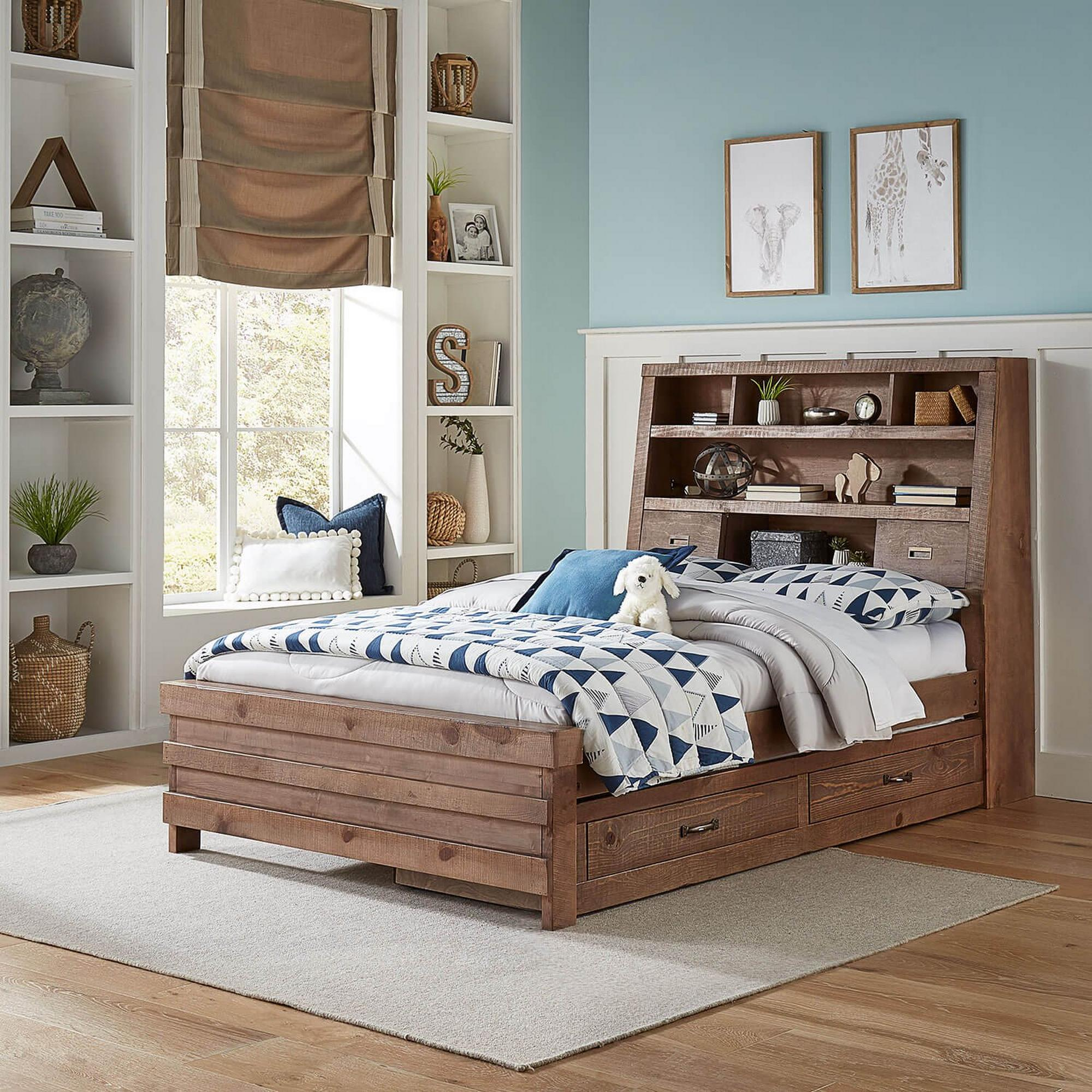 Rent To Own Oak Furniture West 8 Piece Montana Full Captain S Bed With Mattresses And Trundle At Aaron S Today
