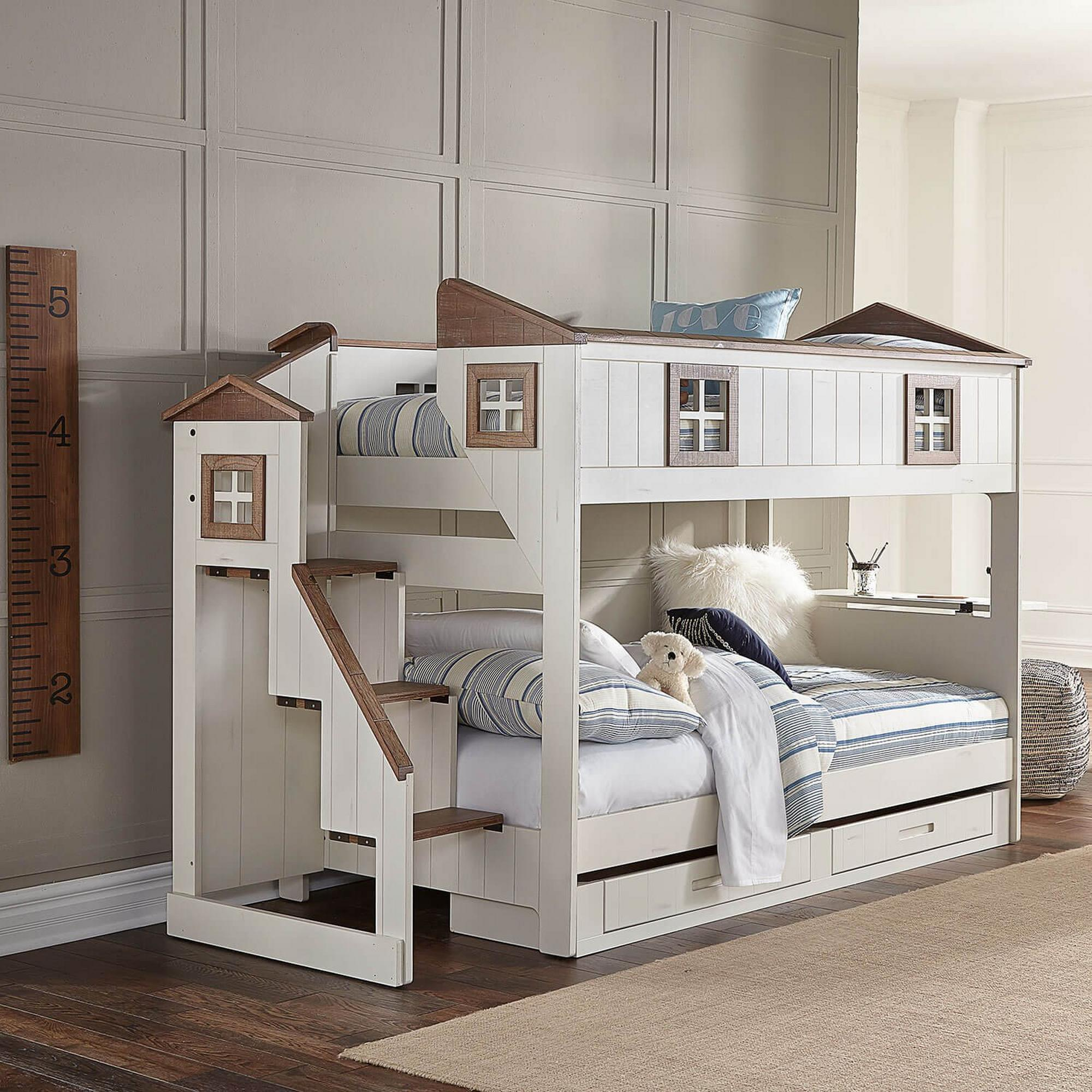 Rent To Own Oak Furniture West Home Sweet Home Twin Over Twin Storage Bunk Bed With Mattresses At Aaron S Today