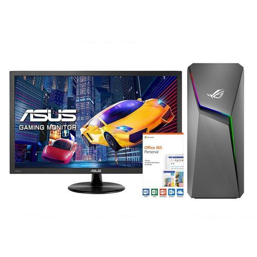 """ROG Strix GL10 Gaming Desktop with 22"""" Gaming Monitor Microsoft Office 365 Personal and Total Defense Internet Security"""