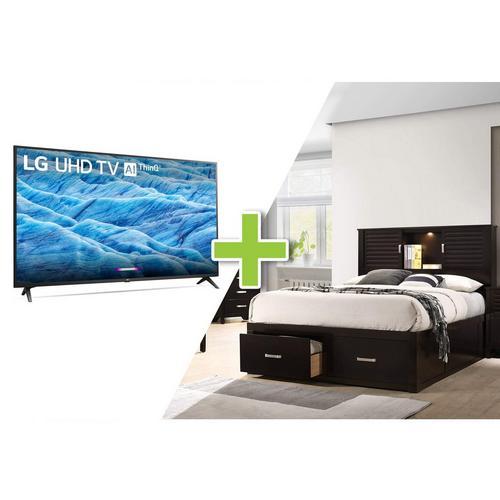 "49"" Class 4K UHD Smart TV and Dalton Queen Platform Storage Bedroom Bundle"