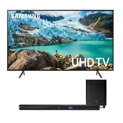 """75"""" Class Smart 4K UHD TV & JBL 450W 3.1Ch Ultra HD Sound Bar Bundle"""