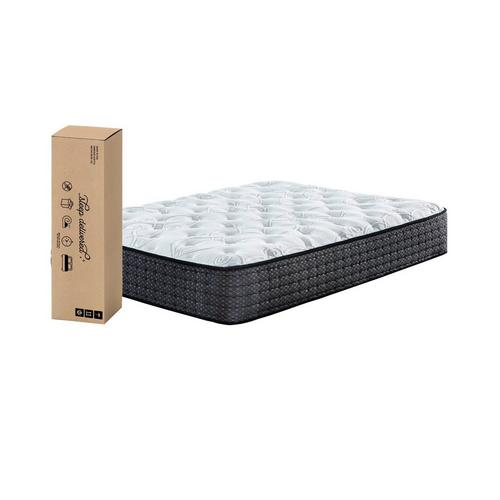 "12"" Tight Top Plush Queen Innerspring Boxed Mattress with Platform Frame & Protector"