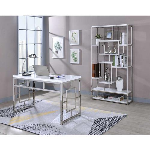 2-Piece Alize White Desk and Bookshelf Set