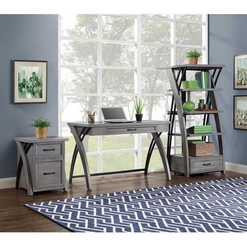 3 Piece Axon Gray Home Office Set, Whalen Office Furniture