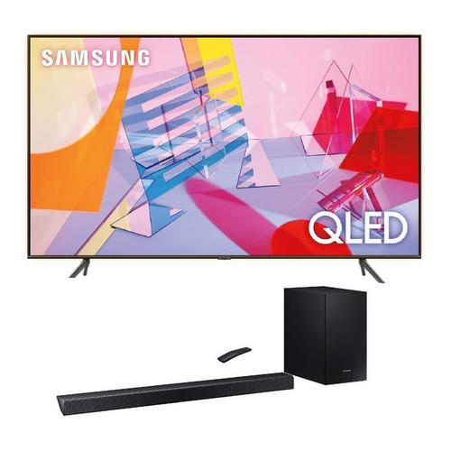 "55"" Class QLED 4K UHD Smart TV & 320W 2.1Ch Sound Bar Bundle"
