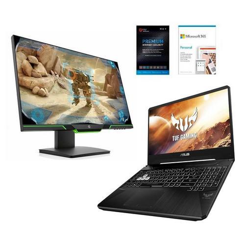 "15.6"" TUF Gaming Laptop with AMD Ryzen 7 CPU, 25"" Gaming Monitor, Microsoft 365 Personal & Total Defense Security"