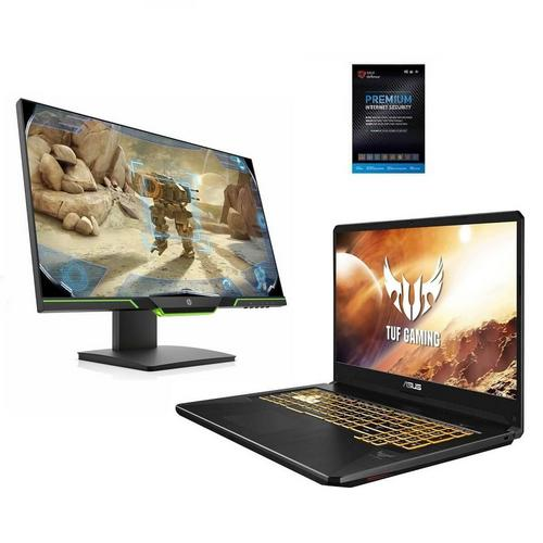 """17.3"""" TUF Gaming Laptop w AMD Ryzen 5 CPU, 25"""" Gaming Monitor & Total Defense Internet Security"""