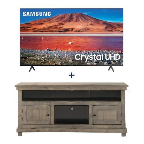 "65"" Class 4K UHD Smart TV & 60"" Grey Rustic TV Stand Bundle"