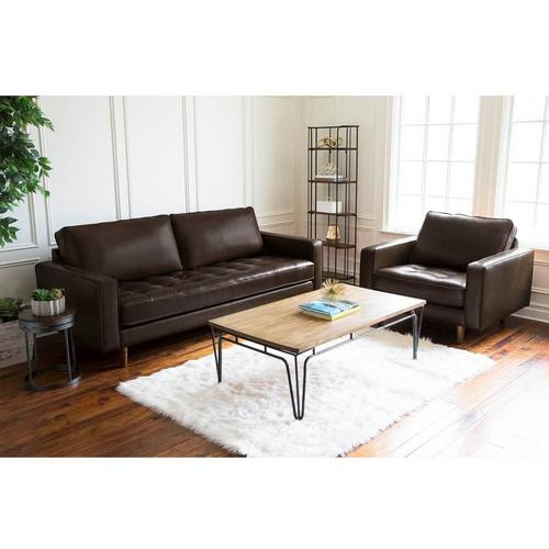 2-Piece Holloway Leather Sofa & Armchair - Brown