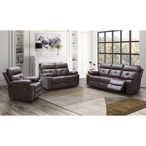 3-Piece Charleston Recliner Sofa, Loveseat & Recliner - Brown