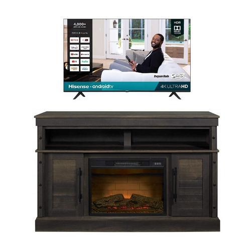 "43"" Class 4K UHD Smart TV & 54"" Fireplace TV Stand Bundle"