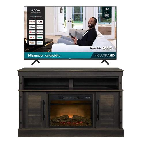 "55"" Class 4K UHD Smart TV & 54"" Fireplace TV Stand Bundle"