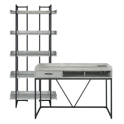 Preston Grey Desk and Bookshelf