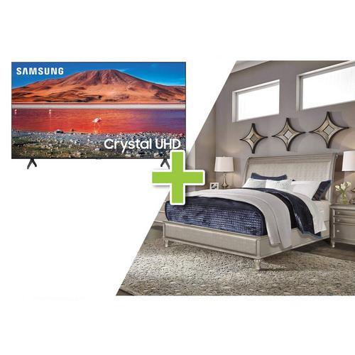 """7-Piece Glam Queen Bedroom w/ Samsung 50"""" Class 4K UHD Smart TV"""