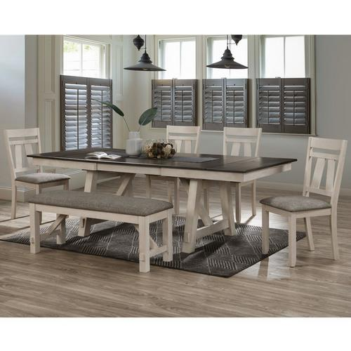 6-Piece Maribelle Dining Chalk Grey Brown
