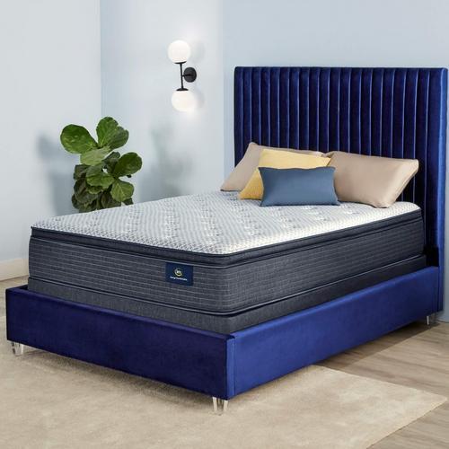 "12"" Serene Sky Pillow Top Plush King Mattress w/Foundation & Protector"