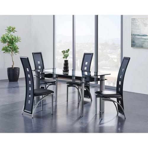 5 - Piece Dining Table w/ Square Cut-Out Detailing Chairs - Black