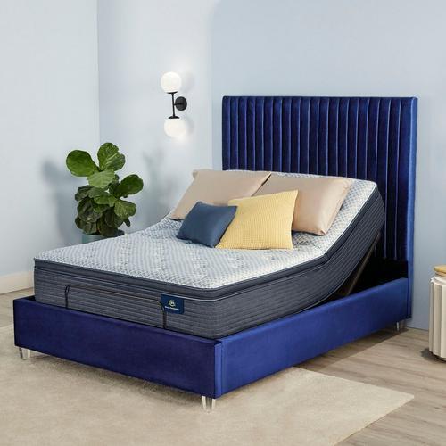 "12"" Serene Sky Plush Pillow Top Queen Mattress w/Adjustable Base & Protector"