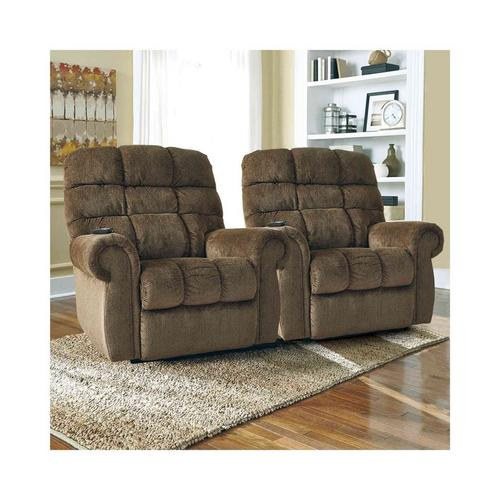 Two Ernestine Power Lift Recliners - Truffle