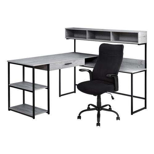 L - Shaped Metal Desk w/ Office Chair