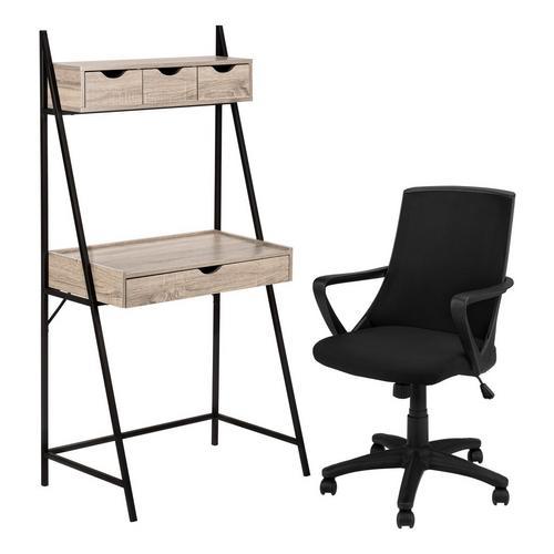 "32"" L - Shaped Metal Desk w/ Office Chair"