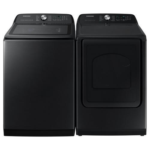 5.2 Cu. Ft. Top Load Washer & 7.4 Cu. Ft. Steam Gas Dryer - Brushed Black