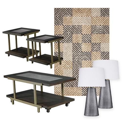 Terrell Cocktail Table w/ End Tables, Lamps & Rug