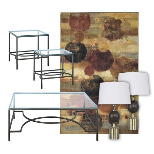 Nicolette Cocktail Table w/ End Tables, Lamps, & Rug